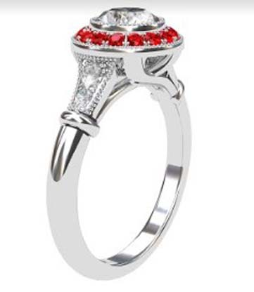 Vintage Style Round Brilliant Cut Diamond Target Ring with a Ruby Halo 4 2