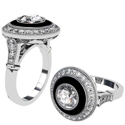 Vintage Style Round Brilliant Cut Diamond and Onyx Target Ring 1 2