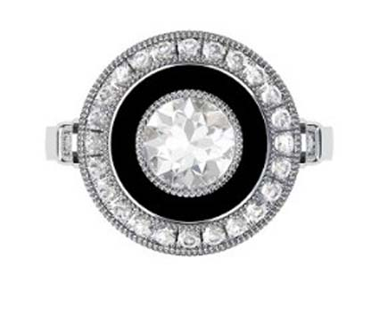 Vintage Style Round Brilliant Cut Diamond and Onyx Target Ring 2 2