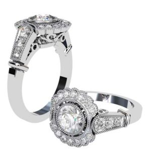 Vintage Style Round Brilliant Cut Filigree Engagement Ring 1 2