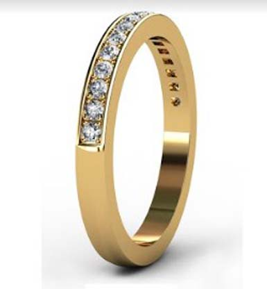 Yellow Gold Pave Set Diamond Half Eternity Band 4