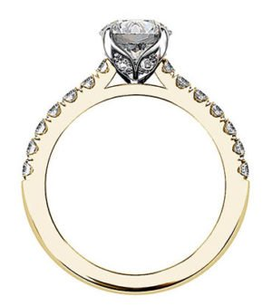 Yellow Gold Round Diamond Ring with Diamond Band 3 2