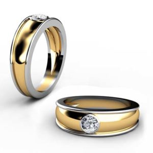 Yellow Gold Round Solitaire Diamond Band with White Gold Side Rails 1 2