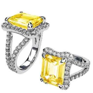 Yellow Sapphire and Diamond Ring 1 3