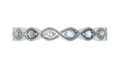 eclipse shape half diamond bead set wedding ring 2
