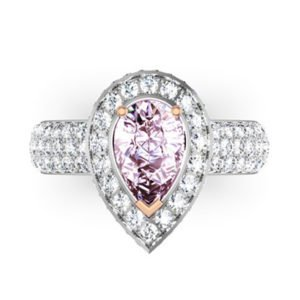 1Ct Pear Shaped Pink Diamond Cobblestone Engagement Ring 2