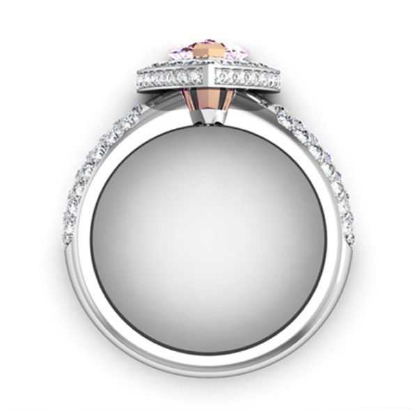 1Ct Pear Shaped Pink Diamond Cobblestone Engagement Ring 3