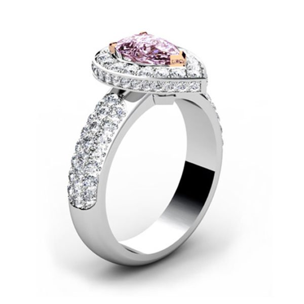 1Ct Pear Shaped Pink Diamond Cobblestone Engagement Ring 4