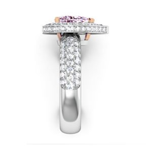 1Ct Pear Shaped Pink Diamond Cobblestone Engagement Ring 5