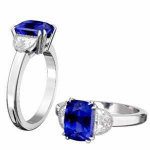 Blue Sapphire Engagement Ring with Side Half Moon shaped Diamonds 1