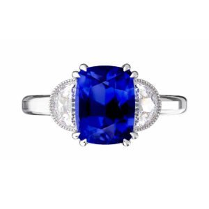 Blue Sapphire Engagement Ring with Side Half Moon shaped Diamonds 2
