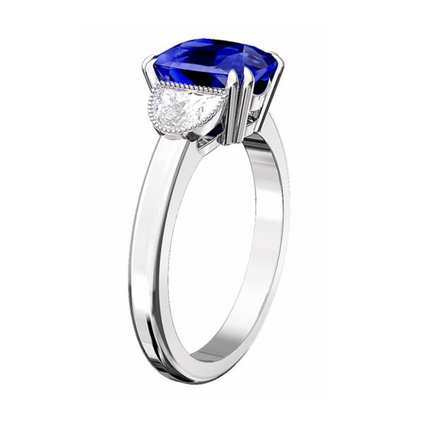 Blue Sapphire Engagement Ring with Side Half Moon shaped Diamonds 4