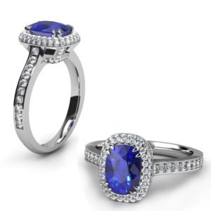 Cushion Cut Blue Sapphire Engagement Ring with Micro Pave Set Halo 1