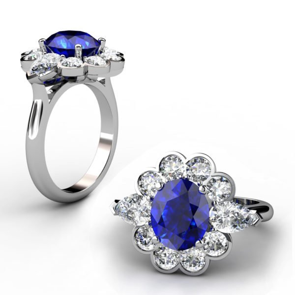 Oval Blue Sapphie Engagement Ring Clustered within Diamond Petals 1