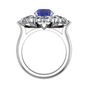 Oval Blue Sapphie Engagement Ring Clustered within Diamond Petals 3