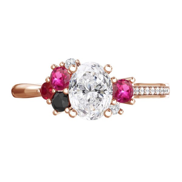 Oval Diamond Engagement Ring with Sapphire Ruby and Black Diamond as Accents 2