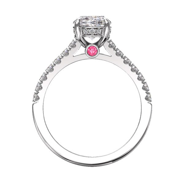 Oval Diamond Hidden Halo Engagement Ring with Pink Diamond 3
