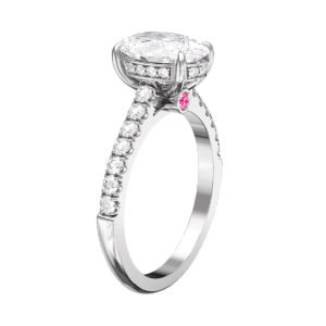Oval Diamond Hidden Halo Engagement Ring with Pink Diamond 4