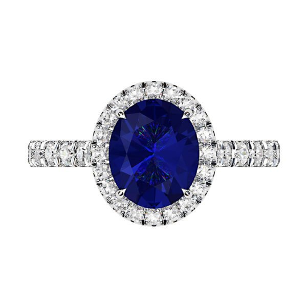 Oval Shaped Blue Sapphire Halo Engagement Ring with Diamond Band 2