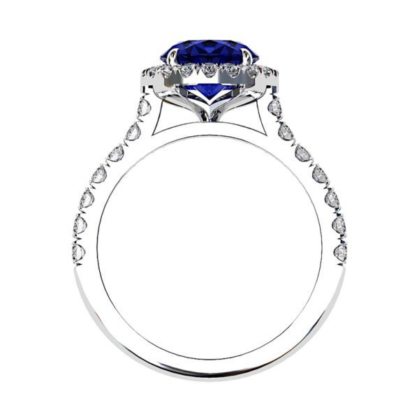 Oval Shaped Blue Sapphire Halo Engagement Ring with Diamond Band 3