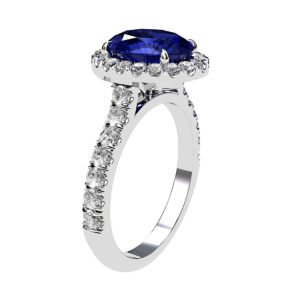 Oval Shaped Blue Sapphire Halo Engagement Ring with Diamond Band 4