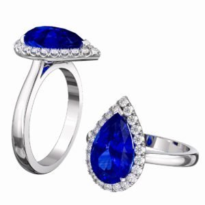 Pear Shaped Blue Sapphire Halo Engagement Ring 1