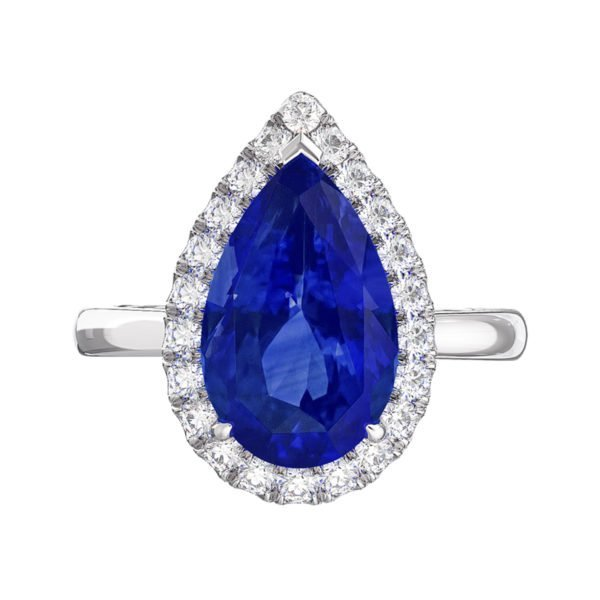 Pear Shaped Blue Sapphire Halo Engagement Ring 2