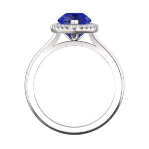 Pear Shaped Blue Sapphire Halo Engagement Ring 3