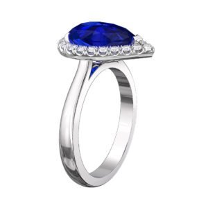 Pear Shaped Blue Sapphire Halo Engagement Ring 4
