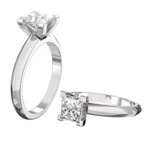 Princess Cut Diamond Engagement Ring with Knife Edge Band 1