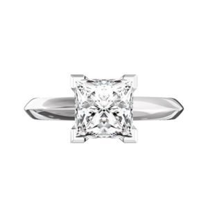 Princess Cut Diamond Engagement Ring with Knife Edge Band 2