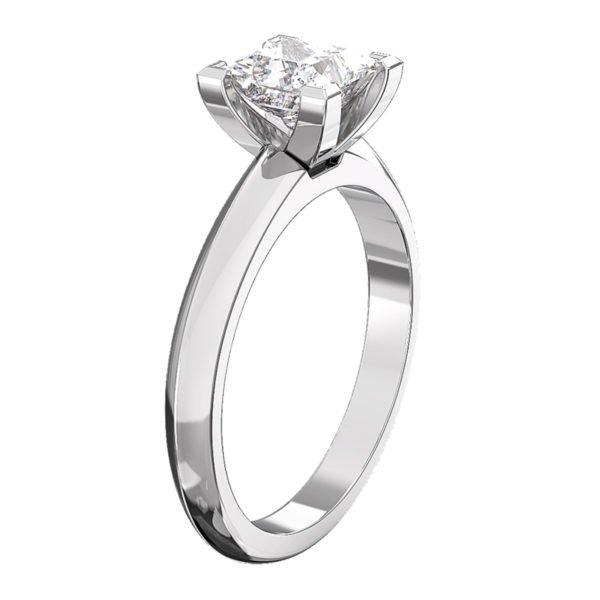 Princess Cut Diamond Engagement Ring with Knife Edge Band 4