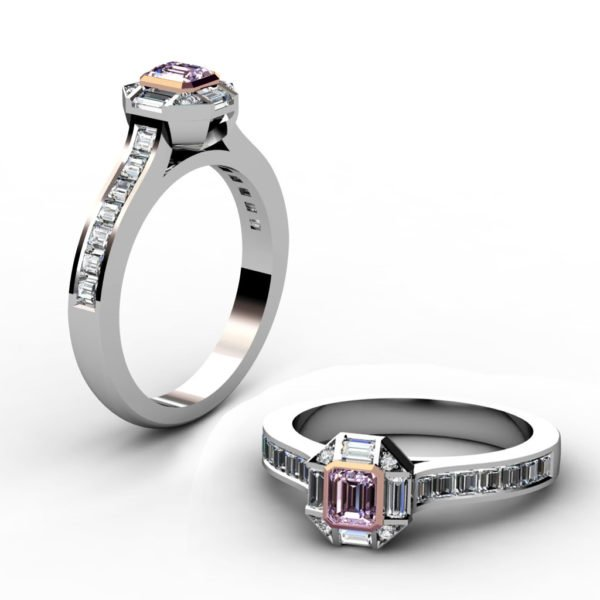 Radiant Pink Diamond Engagement Ring with Baguette and Round Diamond Accents 1