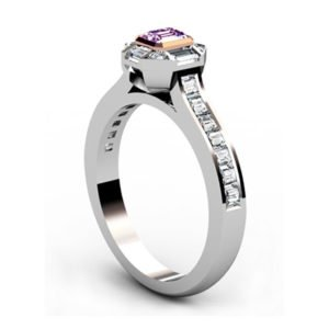 Radiant Pink Diamond Engagement Ring with Baguette and Round Diamond Accents 4