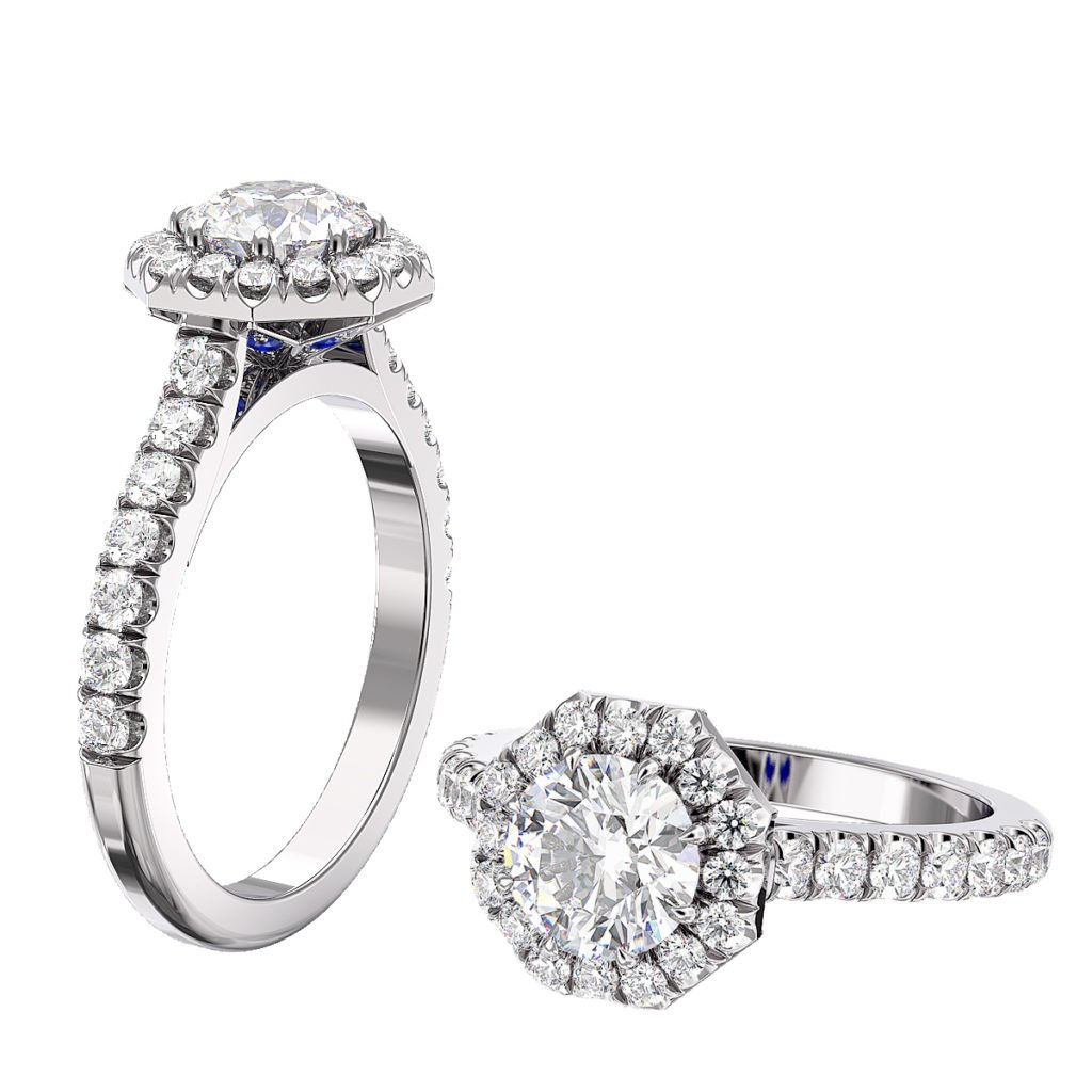 Round Diamond Halo Engagement Ring with Sapphire detailing 1