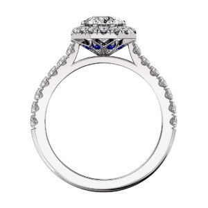 Round Diamond Halo Engagement Ring with Sapphire detailing 3