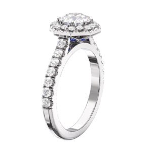 Round Diamond Halo Engagement Ring with Sapphire detailing 4